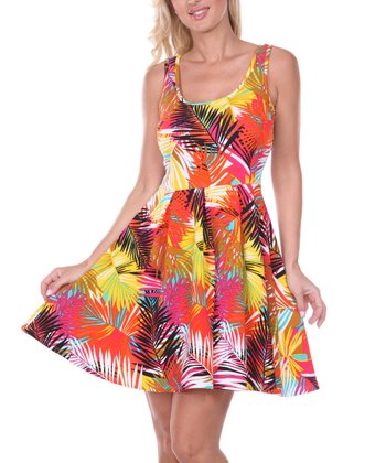 Orange & Yellow Frond Pleated Sleeveless Dress