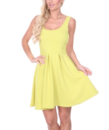Yellow Pleated Sleeveless Dress