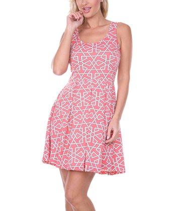 Fuchsia & White Geometric Pleated Sleeveless Dress