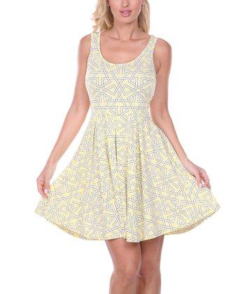 Yellow & White Geometric Pleated Sleeveless Dress