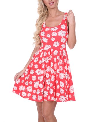 Coral & White Daisy Pleated Sleeveless Dress