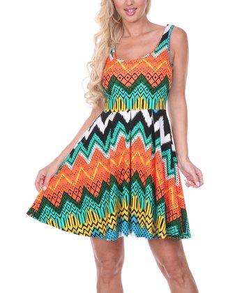 Orange & Green Zigzag Pleated Sleeveless Dress