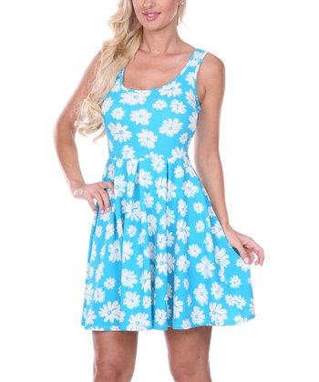 Light Blue Daisy Pleated Sleeveless Dress
