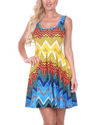 Royal Blue & Yellow Zigzag Pleated Sleeveless Dress