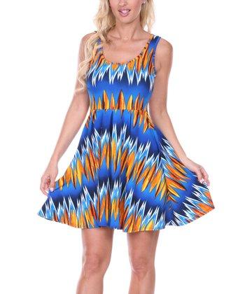 Blue & Green Zigzag Pleated Sleeveless Dress