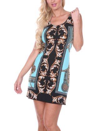 Turquoise & Black Status Short-Sleeve Dress