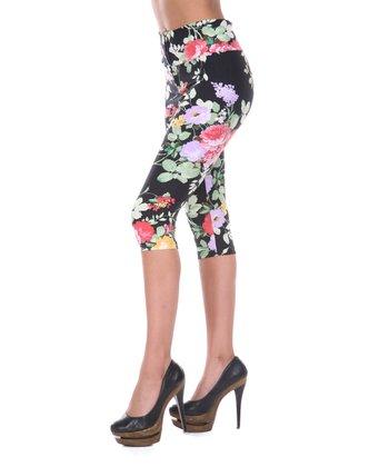 Black & Green Floral Capri Pants