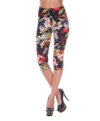 Black & Brown Floral Capri Pants