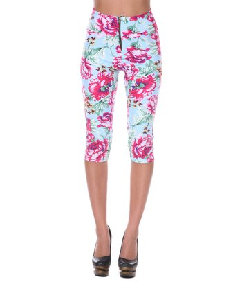 Baby Blue & Pink Floral Capri Pants