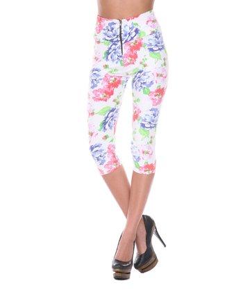 White & Pink Floral Capri Pants