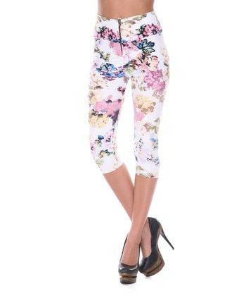 White & Burgundy Floral Capri Pants