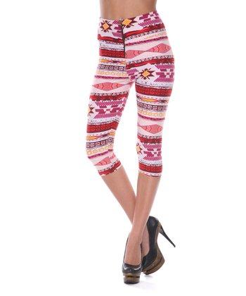 Red & Pink Aztec Capri Pants