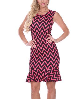 Fuchsia & Black Zigzag Short-Sleeve Dress