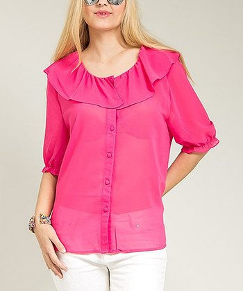 Pink Sheer Ruffle Top - Plus