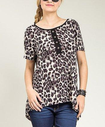 Brown Cheetah Button-Back Top - Plus