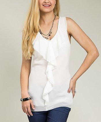 White Sheer Lace Ruffle Sleeveless Tunic - Plus