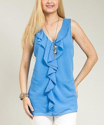 Blue Sheer Lace Ruffle Sleeveless Tunic - Plus