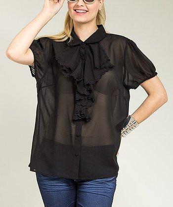 Black Sheer Ruffle Button-Up Top - Plus