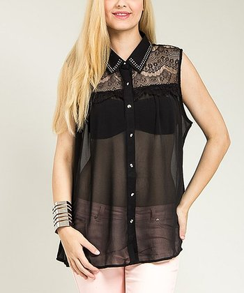 Black Sheer Studded Sleeveless Button-Up Top - Plus