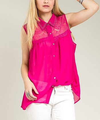 Magenta Sheer Studded Sleeveless Button-Up Top - Plus