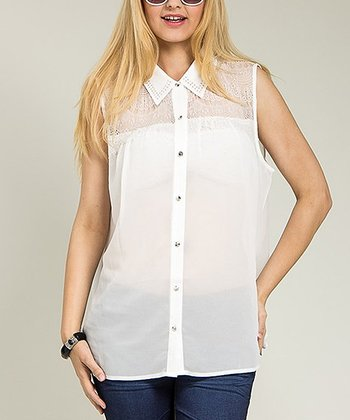 White Sheer Studded Sleeveless Button-Up Top - Plus