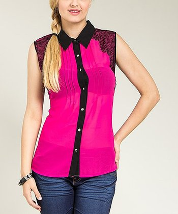 Magenta Vintage Lace Sleeveless Button-Up Top - Plus
