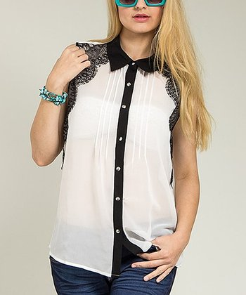 White Vintage Lace Sleeveless Button-Up Top - Plus