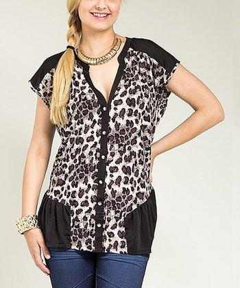 Purple Cheetah Cap-Sleeve Button-Up Top - Plus