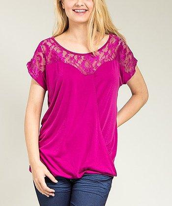 Purple Sheer Lace Drape Top - Plus