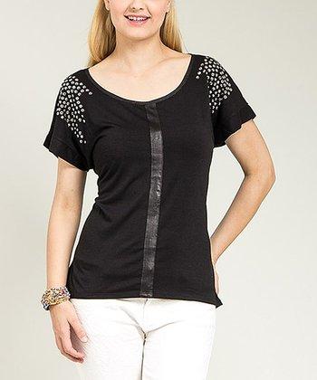 Black Embellished Scoop Neck Top - Plus