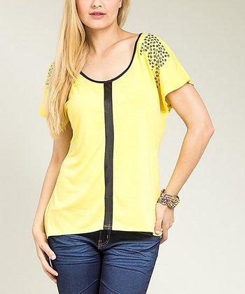 Yellow Embellished Scoop Neck Top - Plus