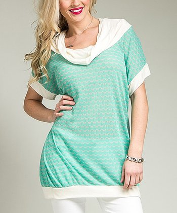 Green Wave Knit Cowl Neck Top - Plus