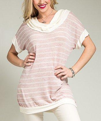 Rose Stripe Knit Cowl Neck Top - Plus