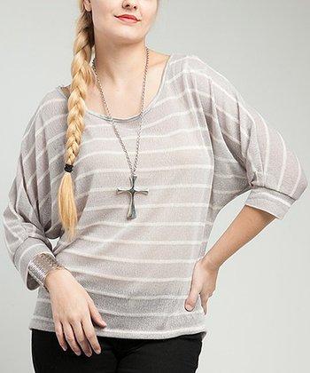 Beige Sheer Stripe Lace-Back Dolman Top - Plus