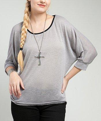 Gray & Black Sheer Lace-Back Dolman Top - Plus