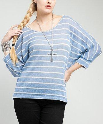 Light Blue Sheer Stripe Lace-Back Dolman Top - Plus