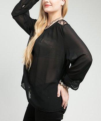 Black Sheer Lace-Panel Swirl Top - Plus