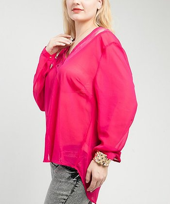 Fuchsia Sheer Lace-Panel Fleur Button-Up Top - Plus