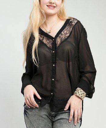 Black Sheer Lace-Panel Fleur Button-Up Top - Plus