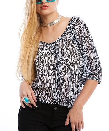 White & Black Scatter Lines Top - Plus
