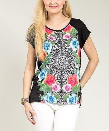 Black Floral Kaleidoscope Cap-Sleeve Top - Plus