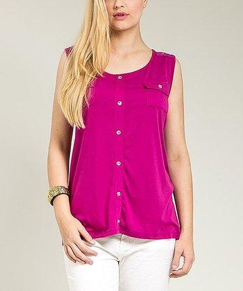 Purple Pocket Button-Up Top - Plus