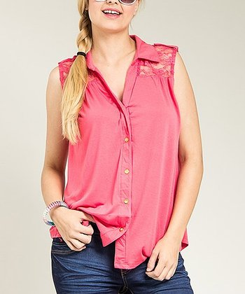 Coral Sheer Lace Sleeveless Button-Up Top - Plus