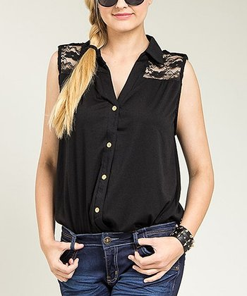 Black Sheer Lace Sleeveless Button-Up Top - Plus