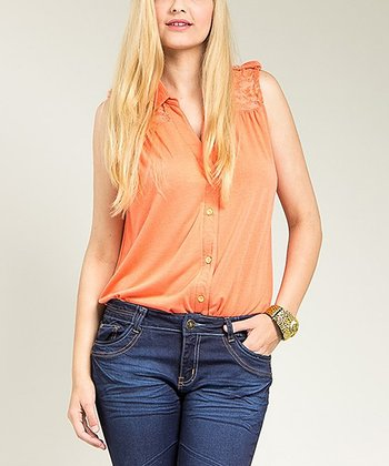 Orange Sheer Lace Sleeveless Button-Up Top - Plus
