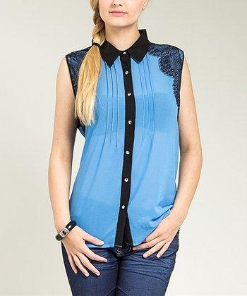 Blue Vintage Lace Sleeveless Button-Up Top - Plus