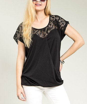 Black Sheer Lace-Panel Drape Top - Plus