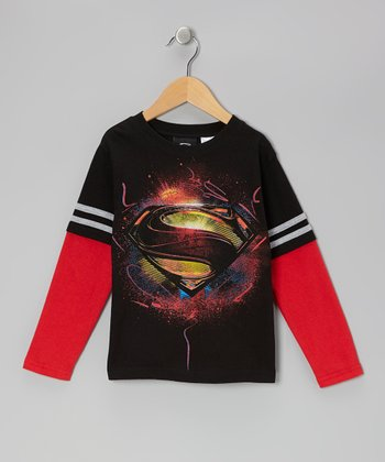 Black & Red Superman Logo Layered Tee - Kids