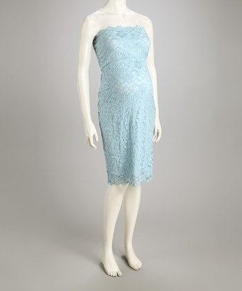 Blue Lace Maternity Strapless Dress - Women & Plus