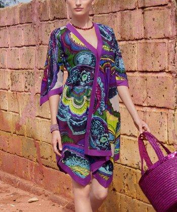 Purple & Olive Paisley Tapered Tunic